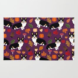 Tricolored Corgi autumn woodland pillow print iphone case phone case corgis cute design Rug