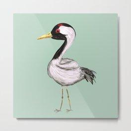 Cute crane watercolor Metal Print