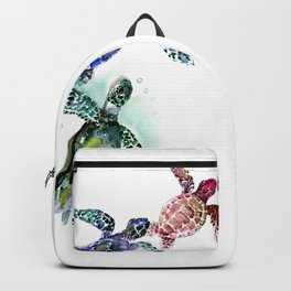 Sea Turtle Family, family art Backpack
