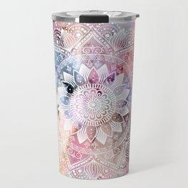 Whimsical white watercolor mandala design Travel Mug