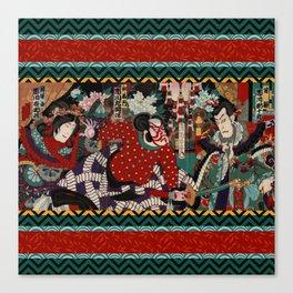 Kabuki Samurai Warriors Canvas Print