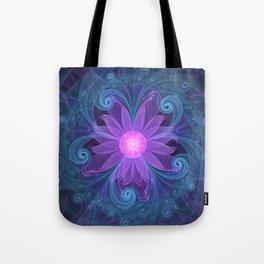 Blown Glass Flower of an ElectricBlue Fractal Iris Tote Bag