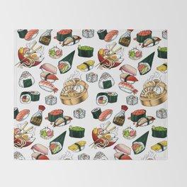 Sushi White Throw Blanket