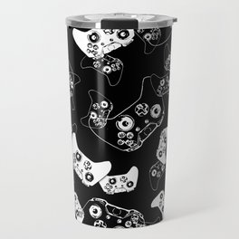 Video Game White on Black Travel Mug