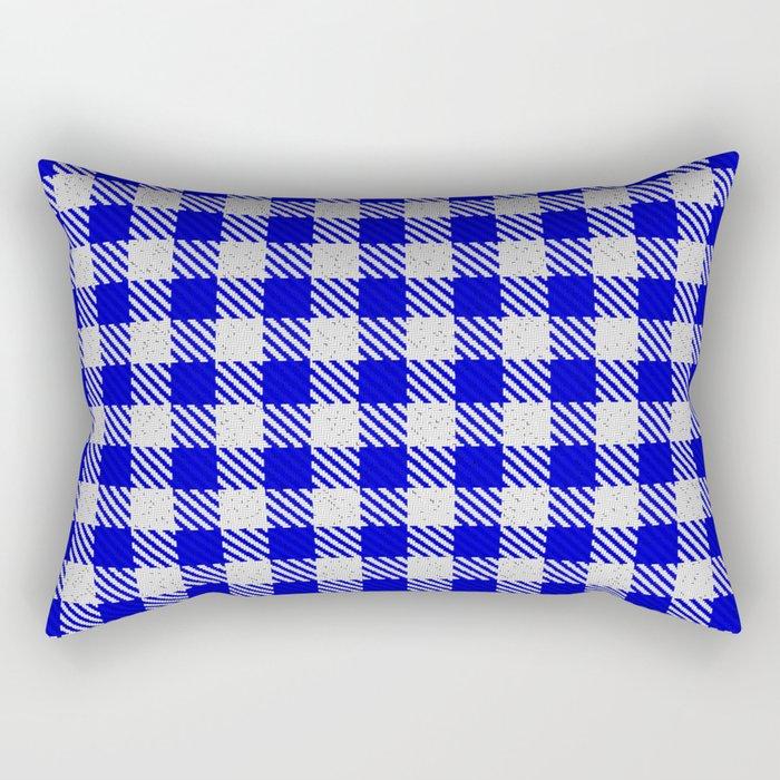 Medium Blue Buffalo Plaid Rectangular Pillow
