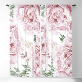 Coral Watercolor Roses Blackout Curtain