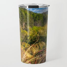 Alpine forest scenery at Wilson Bay in New Zealand Travel Mug
