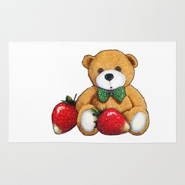 Teddy Bear With Strawberries, Illustration Rug