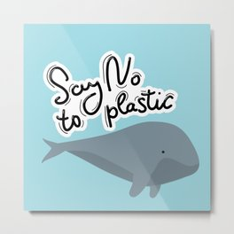Say no to plastic. Whale, sea, ocean.  Pollution problem concept Eco, ecology banner poster. Metal Print