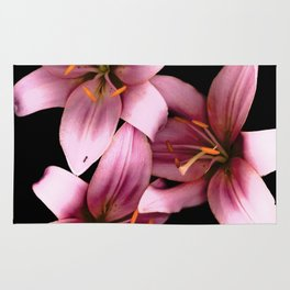 Pretty Pink Ant Lilies, Flowers Scanography Rug