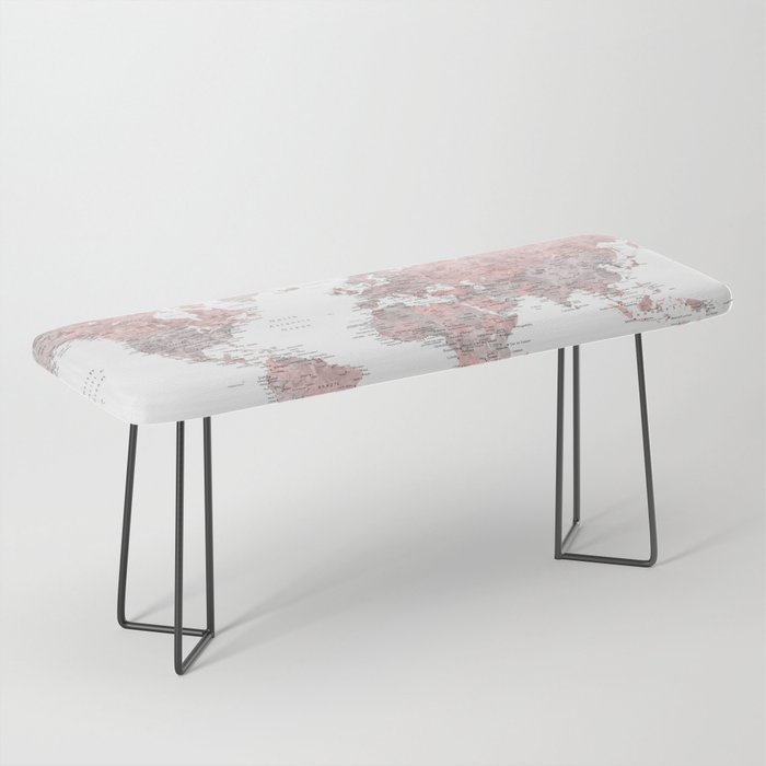 Dusty pink and grey detailed watercolor world map Bench