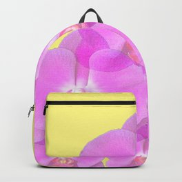 TROPICAL PINK ORCHIDS & YELLOW FLORAL ABSTRACT Backpack