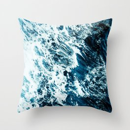 Water, Sea, Ocean, Wave, Blue, Nature, Modern art, Art, Minimal, Wall art Throw Pillow