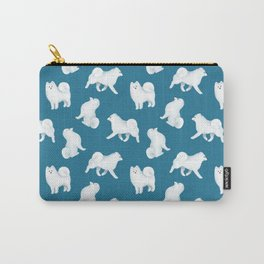 Samoyed Pattern (Blue Background) Carry-All Pouch