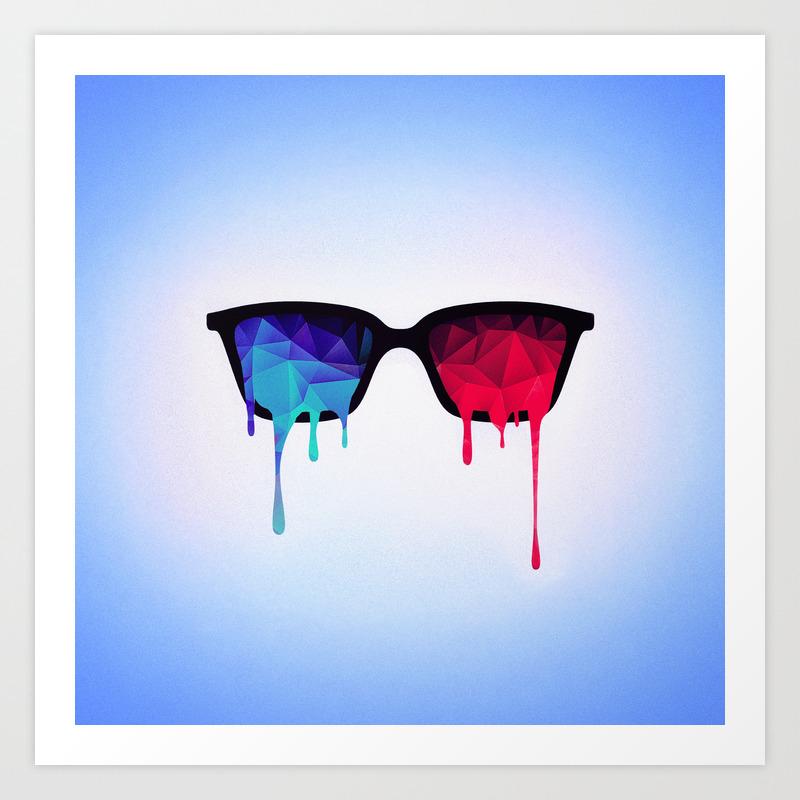 3d Psychedelic / Goa Meditation Glasses (low Poly) Art Print by Badbugsart PRN8615269