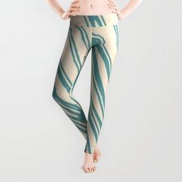 Cadet Blue Zigzag Lines Leggings