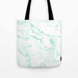 Trendy modern pastel mint green white marble pattern by Girly Trend Tote Bag