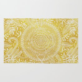 Medallion Pattern in Mustard and Cream Rug