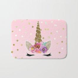 Floral Trendy Modern Unicorn Horn Gold Confetti Bath Mat