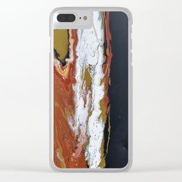 Fuse - Red Black Modern Abstract Fluid Art Painting Clear iPhone Case