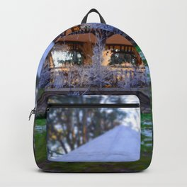 Kiosk in winter Backpack