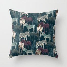 zebra navy Throw Pillow