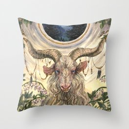 White Magic Goat Throw Pillow