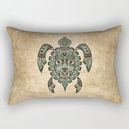 Vintage Teal Blue Haida Spirit Sea Turtle Rectangular Pillow