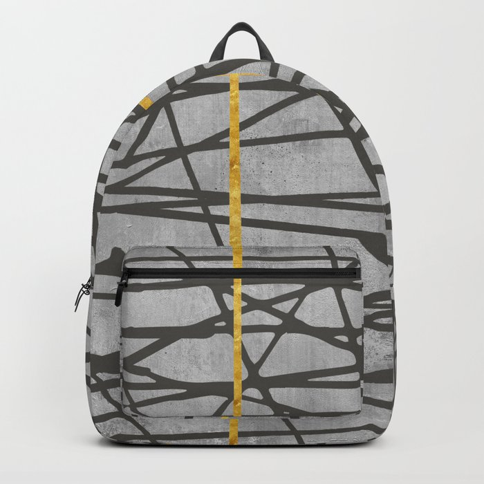 Black abstract black and gold lines on concrete - Mix & Match with Simplicty of life Backpack