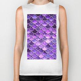 Pantone Ultra Violet Glitter Ombre Mermaid Scales Pattern Biker Tank