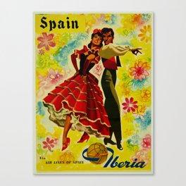 Vintage Spain Travel Ad - Flamenco Canvas Print