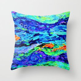 Follow the fish - abstract painting Throw Pillow