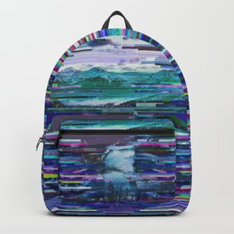 Mountains watch over an icy river Backpack