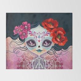 Amelia Calavera - Sugar Skull Throw Blanket