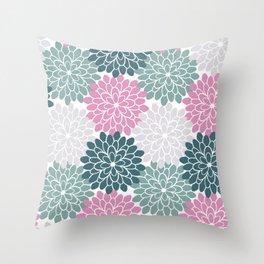 Petal in Rose, Cyan and Milky Grey Throw Pillow