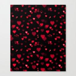 Red Bokeh Hearts Canvas Print