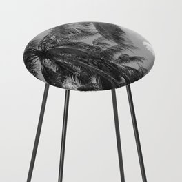 Palm Trees Black and White Photography Counter Stool