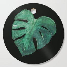 Monstera Leaf on Black Cutting Board
