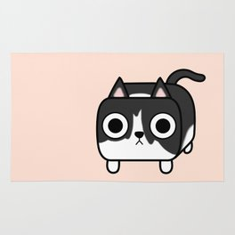 Cat Loaf - Tuxedo Kitty - Black and White Rug