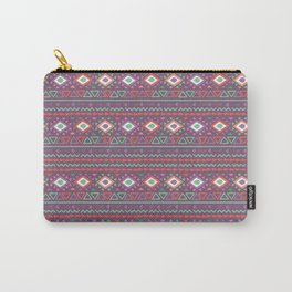 Abstract pink red green hand painted geometrical tribal pattern Carry-All Pouch