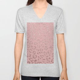 Modern faux rose gold glitter leopard ombre pink pattern Unisex V-Neck