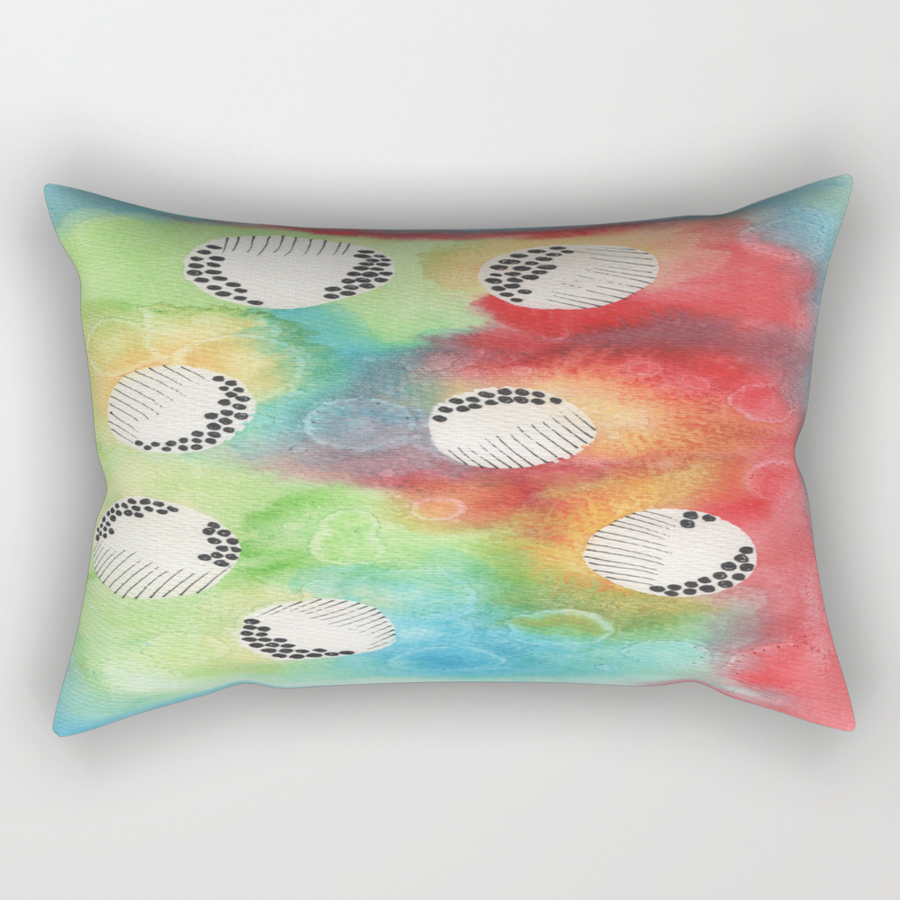 Watercolor Vibrant Abstract Painting Rectangular Pillow RPW8943922