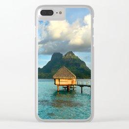 Bora Bora Tahiti Bungalow Clear iPhone Case
