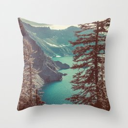 Vintage Blue Crater Lake and Trees - Nature Photography Throw Pillow