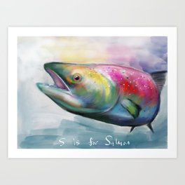 S is for salmon Art Print