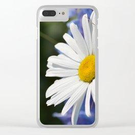 White Daisy Flower Loves Me Loves Me Not Clear iPhone Case