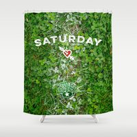 rugby Shower Curtains featuring Rugby Heaven by Max Rugby