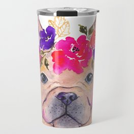 Frenchie Floral watercolor Travel Mug
