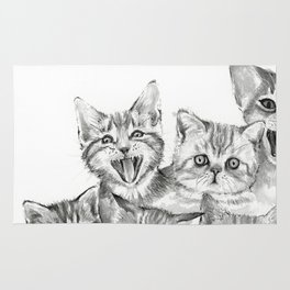 Kittens Pattern Cute Meowing Cats Rug
