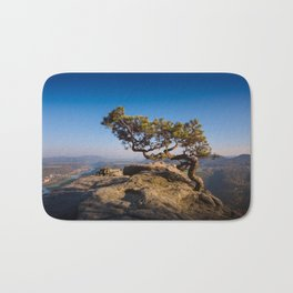 Crooked Tree in Elbe Sandstone Mountains Bath Mat